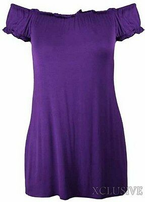 LADIES PLUS SIZE OFF SHOULDER GYPSY LONG TOPS STRETCH SUMMER BOHO TOPS 14-28 NEW