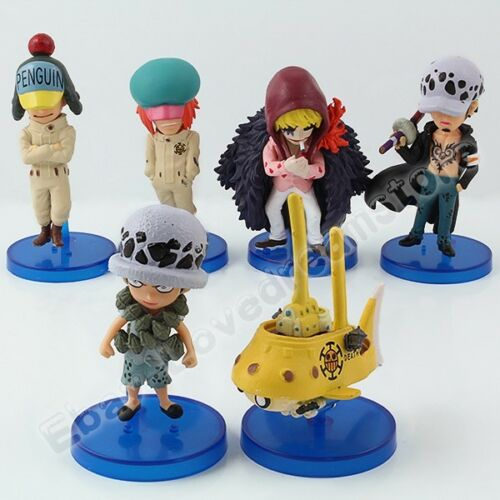 6pcs One Piece UsoppCorazonTrafalgar LawSubmarine 5.57.5cm PVC Figure Set