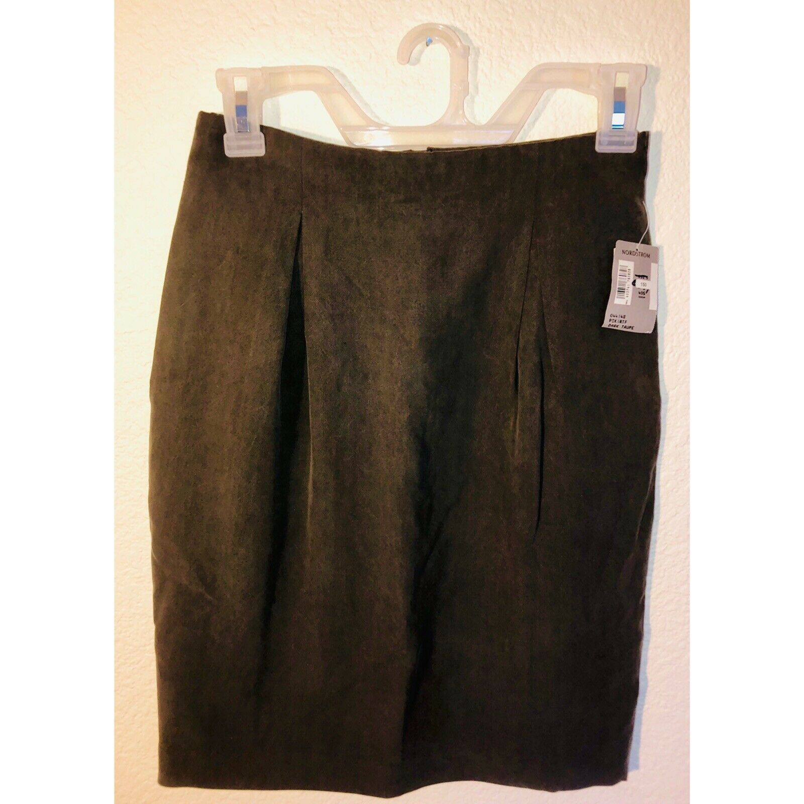 NEW with TAGS Classiques For Nordstrom Petites Dark Taupe Silk Skirt Size 8