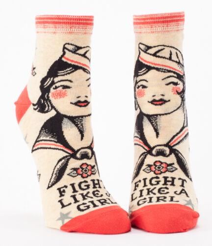 Fight Like a Girl Blue Q Ankle Socks