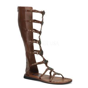 Brown Roman Hercules Warrior Gladiator Sandals Costume Shoes Mens ...