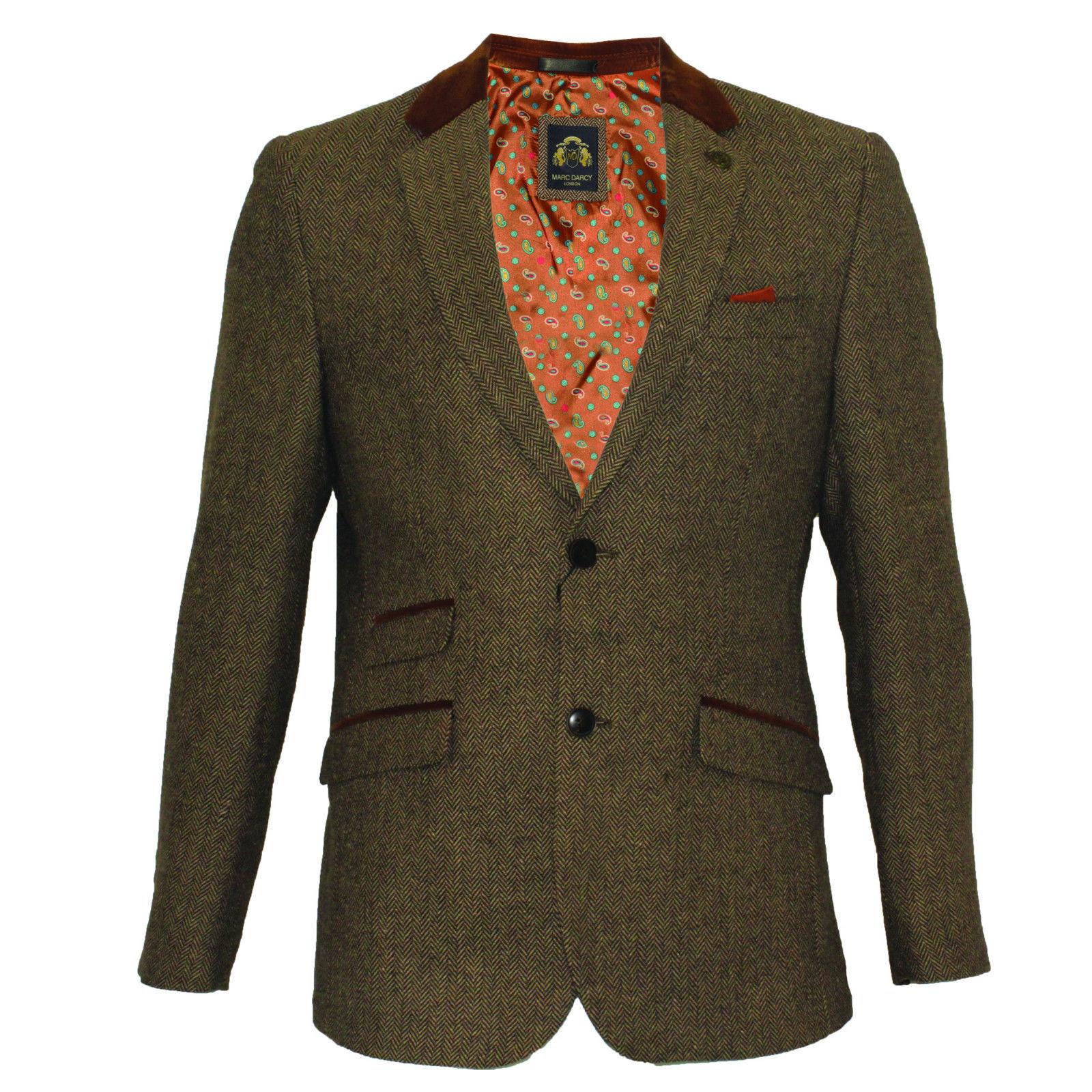 Blazers Hull: Mens Marc Darcy Designer 2 Piece Tan Tweed Herringbone