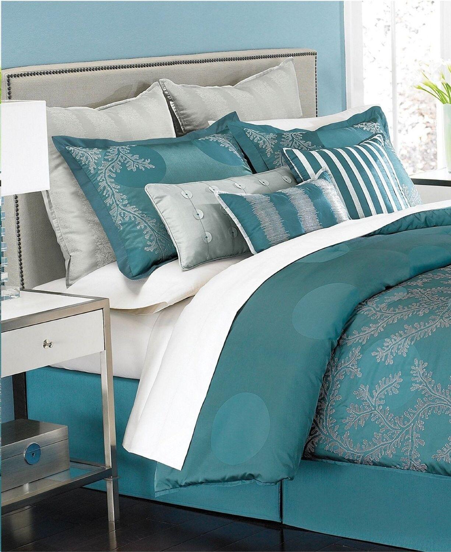 Martha Stewart 5 Piece Moonlit Tide QUEEN Comforter Set TURQUOISE T497