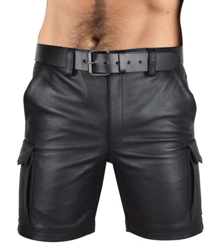 Homme Vrai Cuir Poches Cargo Short Club Wear Short Gratuit Ceinture en cuir