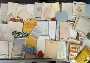 Mixed-Vintage-Lot-Junk-Drawer-Office-Paper-Ephemera-Notepads-Stamps