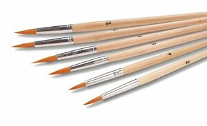 Artist Paint Brush Set 6 Pc. Fine Tip Round Point for Acrylic, Oil or Assorted
