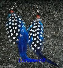 Indianer Ohrringe echte Federn Perlhuhn 4