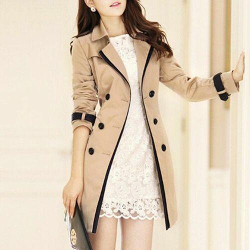 Elegant Women Thick Windbreaker Double Breasted Long Trench Coat Jacket Slim Fit