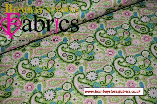 tradicional Paisley Print Vestido estampado de césped 100/% algodón tejido 58/' de ancho