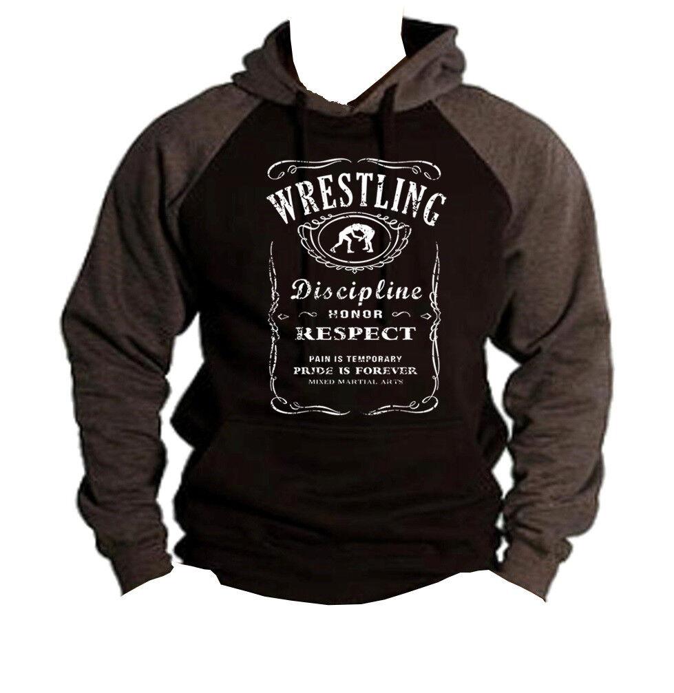 New Men's Wrestling Whiskey Label Charcoal Raglan Hoodie sweatshirt Boxing MMA