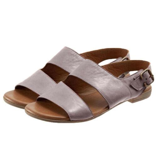 Fashion Womens Ladies Sandals Retro Buckle-Strap Sandals Flat Bottom Roman Shoes