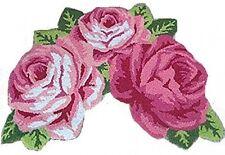 Ustide 3 Rose Shaped Rug Handmde Rug Bathroom Mat Modern Carpet Pink Rose Rug