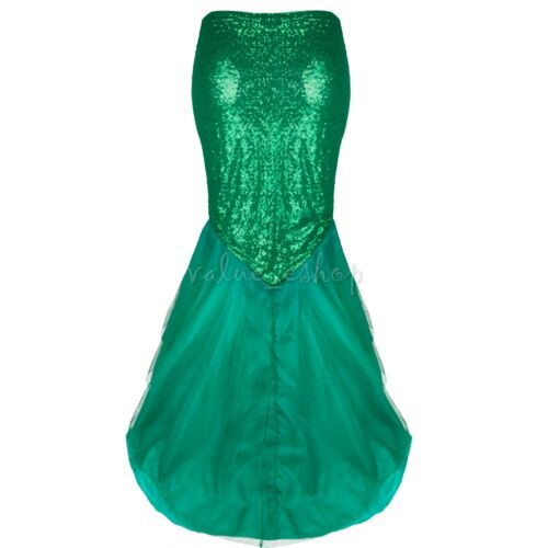 Halloween Christmas Women/'s Fancy Dress Sequin Mermaid Scal Tail Skirt Costume