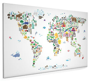 Animal map of the world for children and kids box canvas and poster image is loading animal map of the world for children and gumiabroncs Choice Image