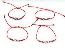 Elephant Silver Charm Red Thread String Bracelet Adjustable (4PCS)