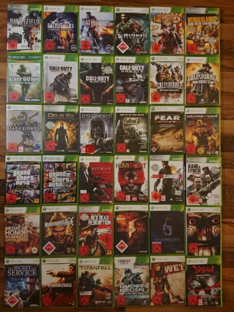 XBOX 360 Jeux 18er (COD, Halo, Hitman, Mafia, SPEC OPS, sniper, GTA,...)