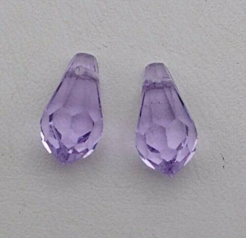 2pc Swarovski Crystal Violet 11mm Teardrop 6000 Pendants; Purple