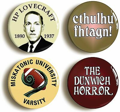 4 x HP LOVECRAFT CTHULUHU BADGE BUTTON PINS (1inch/25mm diameter) ARKHAM MYTHOS