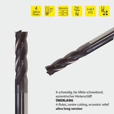 VHM SCHAFTFRÄSER Z=4 / 3mm,4,5,6,8,10,12,16,20mm überlange Fräser TIALN 30°