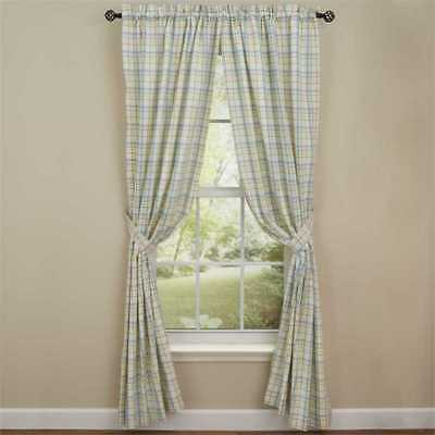 Panel Curtains Brooke 72 Wx84 L Creamy White Blue Lime Green Yellow Plaid Lined 762242438187 Ebay