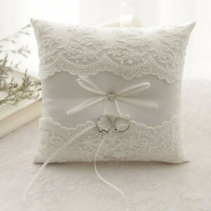 US-White-Lace-Satin-Bowknot-Ring-Bearer-Pillow-Cushion-Ceremony-Wedding-20-20cm