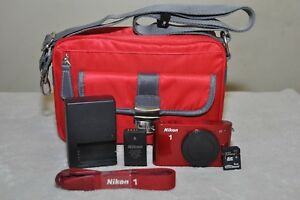 Nikon-1-J1-10-1-MP-Digital-Camera-Red-Body-Accessories-Only-768-SHUTTER-COUNT