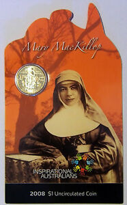 2008 INSPIRATIONAL AUSTRALIANS MARY McKILLOP Coin on Card