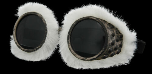 White Fur Mountain Arctic EXPLORER GOGGLES aviator cosplay steampunk air pirate