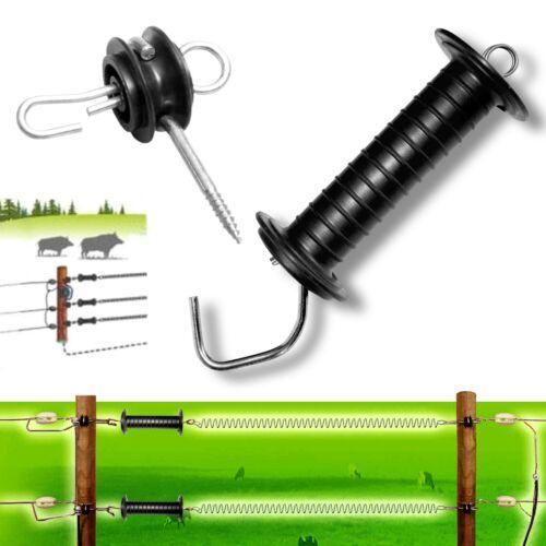 4x GATE ANCHOR Insulator Electric Fence 2x BLACK Heavy Duty GARE HANDLE