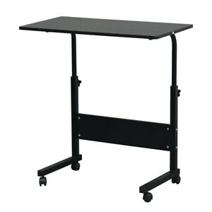 Details About Over Bed Tray Tables Adjule Height Home Table Office Desk W Wheels Black