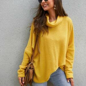 Knitwear-Long-Sleeve-T-Shirt-Pullover-Tops-Sweater-Jumper-Womens-Knitted-Casual