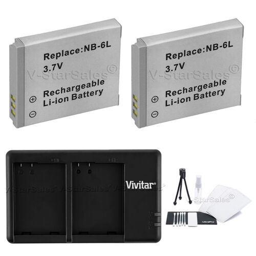 2X NB6LH Replacement Battery & USB Dual Charger f/Canon SD4000 SX500 SX260 SX270