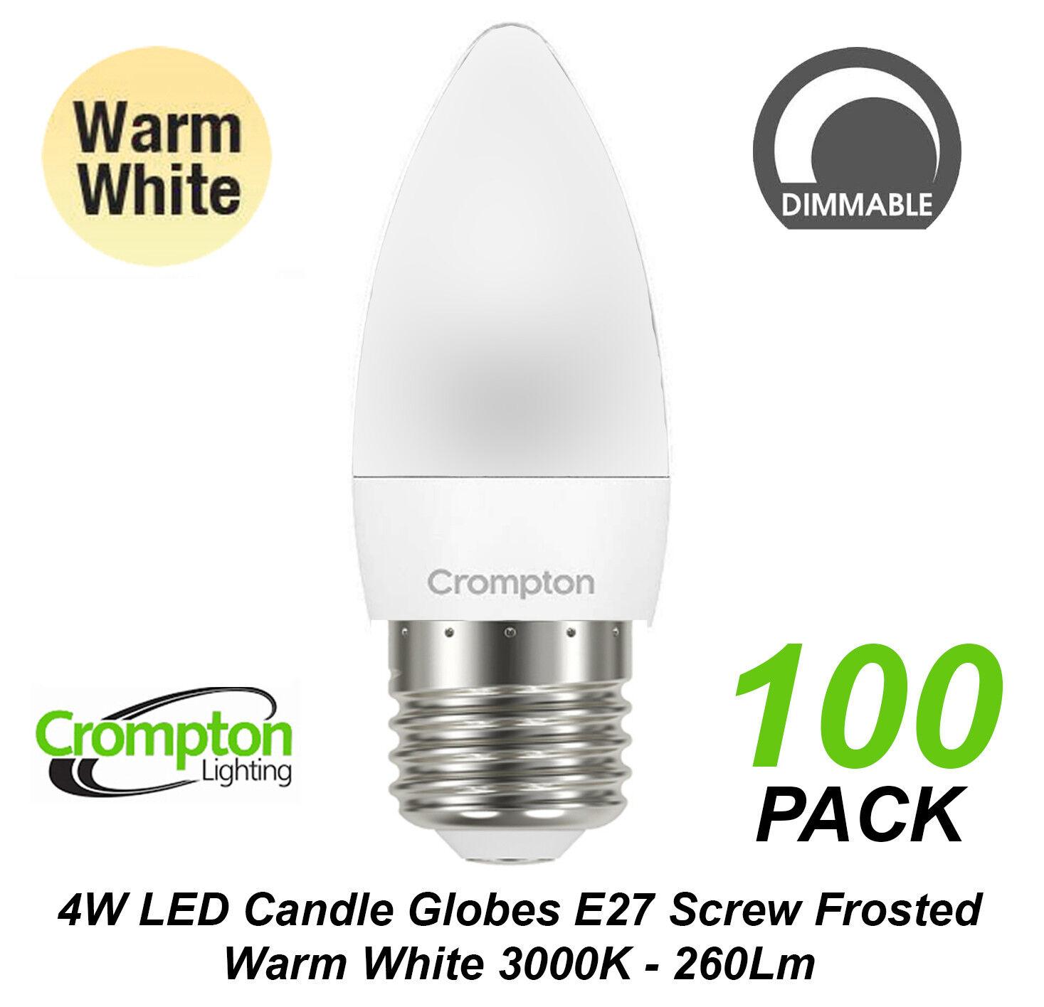 A granel 100 X 4W Bombillas LED Globos Luz De La Vela Regulable blancoo Cálido E27 Tornillo ES