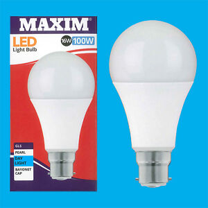 2x-16W-100W-GLS-BC-B22-A70-LED-Gluehbirne-6500K-Tageslicht-Weiss-Lampe