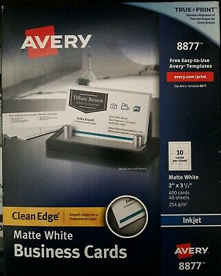 Avery 8877 Inkjet Matte White Business Cards 2 X 3 1 2 10 Per