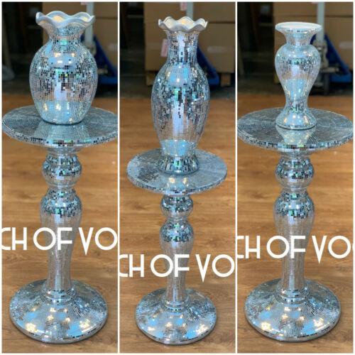 Argent Vénitien Miroir Table Vase moderne fleur stand Bed Side Romany Mosaïque