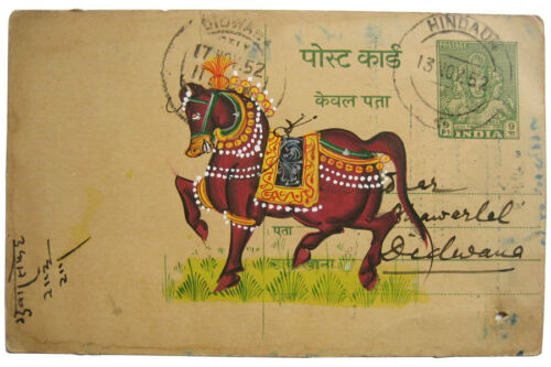 Alte indische Postkarten mit orig Gemälde PFERD Miniatur Malerei INDIEN horse