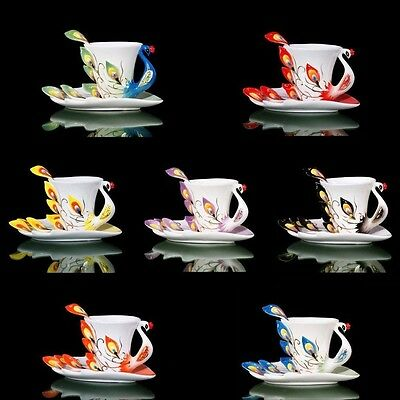 Peacock Porcelain Coffee Cup Set / Tea Cup Set for Daily Use and Gift