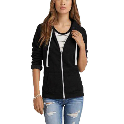 Ladies Hoodie Sweatshirt Zip Plain Jacket Hooded Womens Jumper Fleece Coat Top
