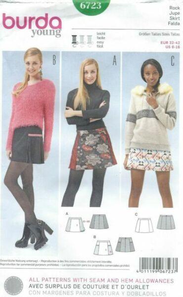 Burda Young Pattern 6723 Ms Mini Skirt w//Trim~Seam Detail~Pleat Opts  Sz 6-16