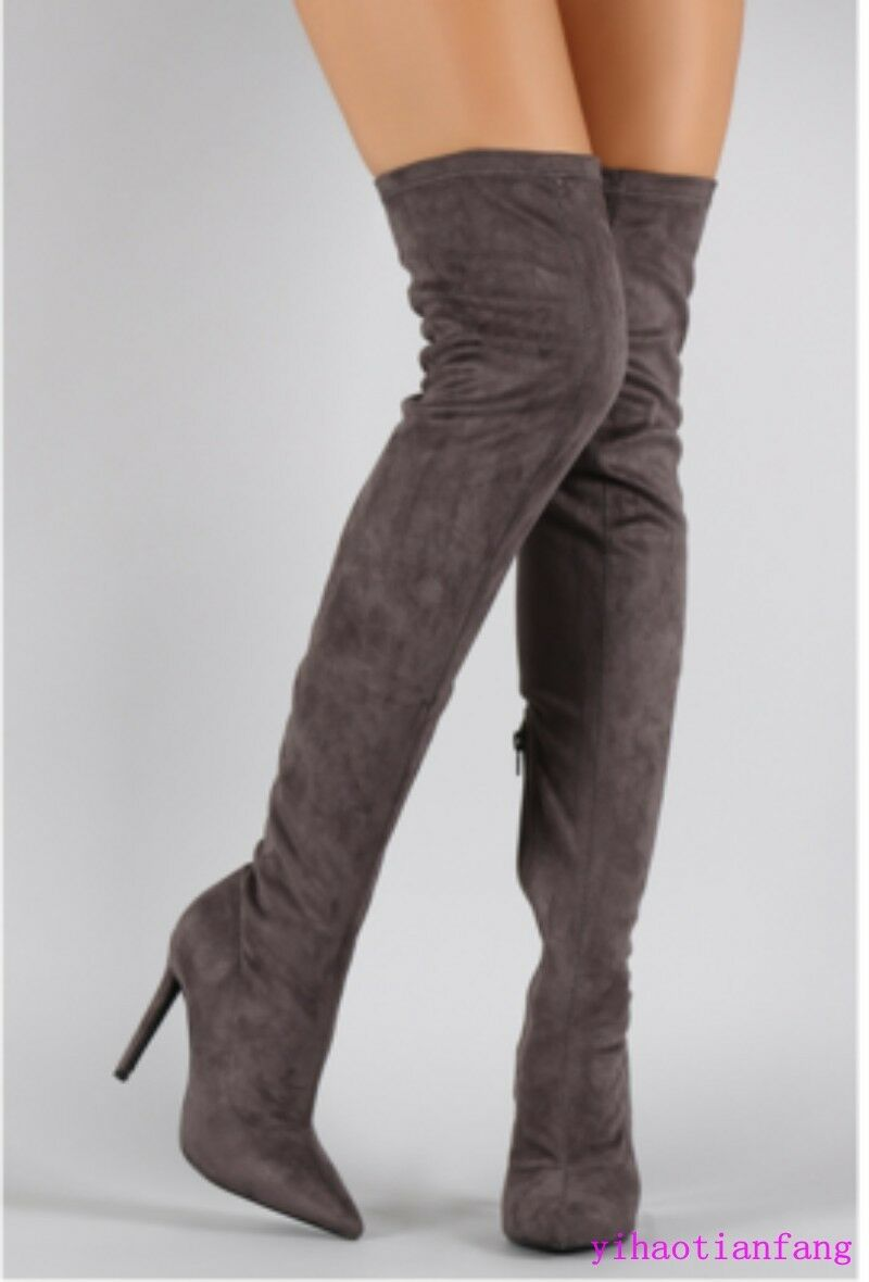 Women SZ High Heel Pointy Toe Stretch Over Knee Thigh Boot Faux Suede boots 2018