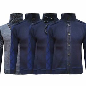 Mens-Chunky-Cardigan-Knitted-Cable-Weave-Knitted-Toggle-Button-Shawl-Jumper-New