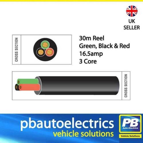 30m Black Red Green Thin Wall 16.5 amp 3 Core Auto Cable Round Black TW03//01