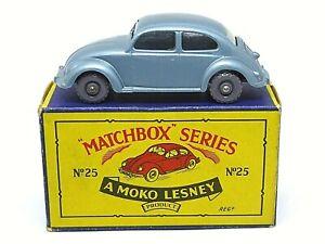Matchbox-Lesney-25b-Volkswagen-Escarabajo-039-B5-039-Caja-Volkswagon-Base-Luces-Traseras-Rojo
