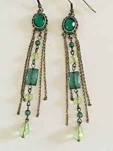 Faux-Emerald-Dangle-Drop-Pierced-Earrings-Gold-Tone-Green-3-5-034-F