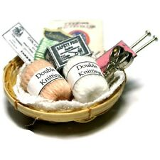 Dolls House Miniature Knitting Basket ~ 12th Scale ~ Dolls House Miniatures