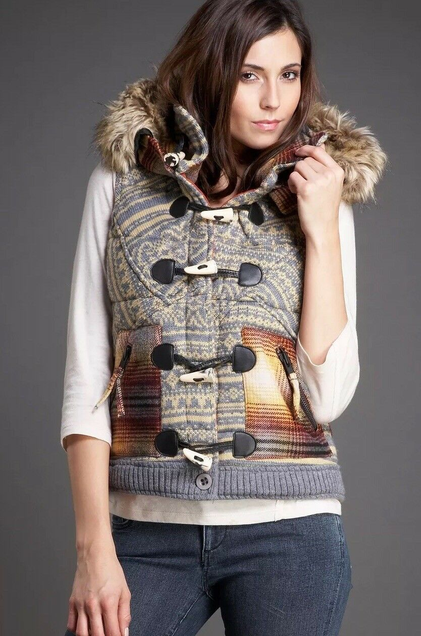 Nordstrom Da-Nang Wool Faux Fur Vest With With With Detachable Hood Retail  264 Size M b79db9