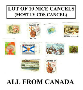Lot-of-10-Nicely-Cancel-stamps-Canada-Mostly-CDS-cancels-circular-cancellation