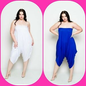 14dbf79aa55 Plus Size Sleeveless Tube Top Baggy Blue or Black Solid Harem ...