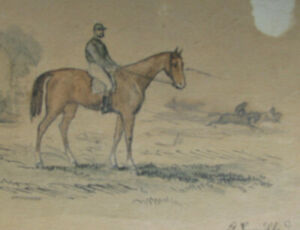 1850s-JOCKEY-amp-HORSE-RACE-w-c-painting-ink-GUSTAV-SUNDBLAD-German-1835-1891